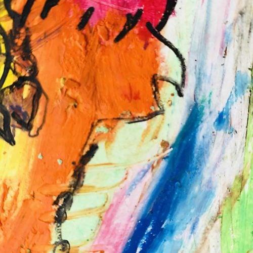 Abstraktes Ölgemälde auf Leinwand Orange Expressiv