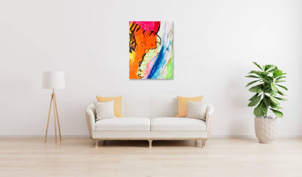 Abstraktes Ölgemälde auf Leinwand Orange Expressiv wandbild