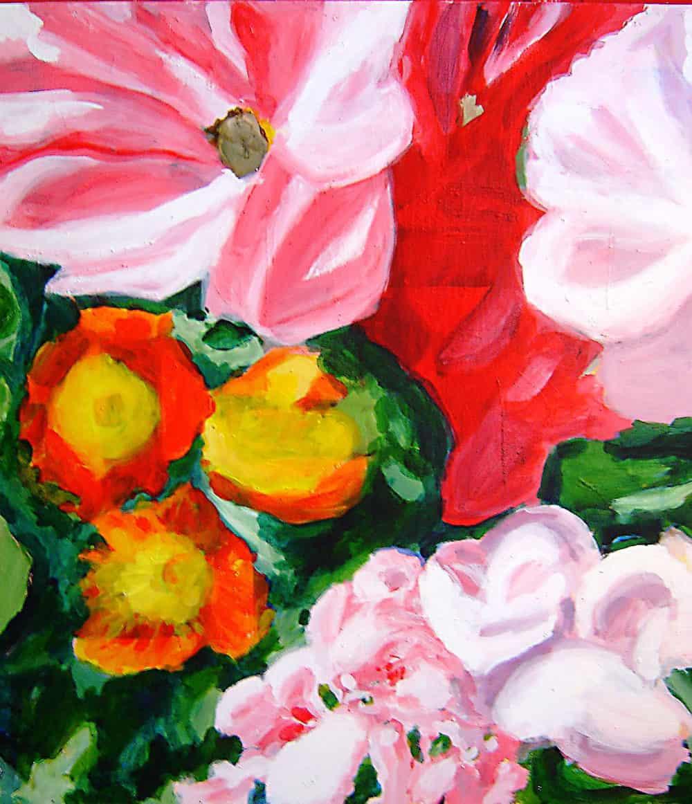 Abstraktes Ölgemälde auf Leinwand Rosa Blumen