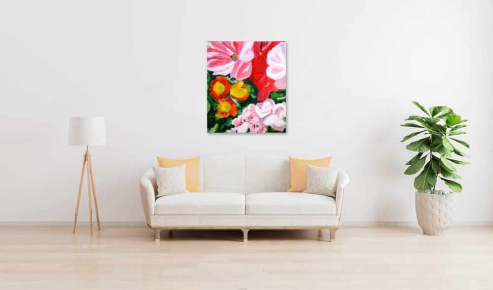 Abstraktes Ölgemälde auf Leinwand Rosa Blumen wandbild