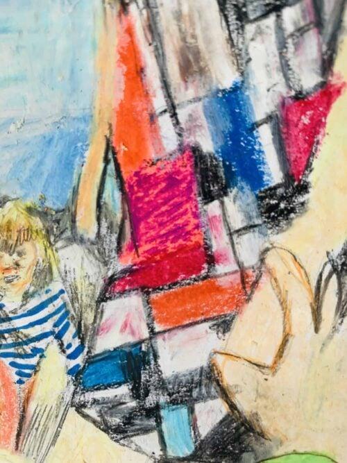 Abstraktes Ölgemälde auf Leinwand am Meer mit Kind