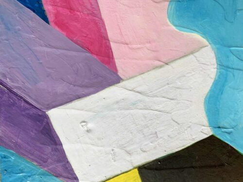 Abstraktes Ölgemälde auf Leinwand farbige Felder mit Lila Blau und Schwarz