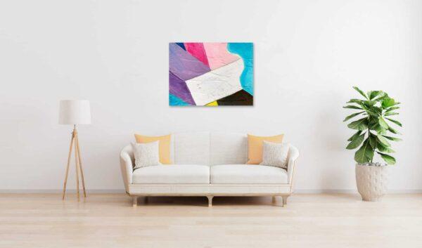 Abstraktes Ölgemälde auf Leinwand farbige Felder mit Lila Blau und Schwarz wandbild