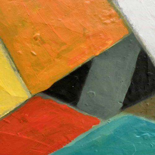 Abstraktes Ölgemälde auf Leinwand farbige Felder mit Orange Rot und Gelb