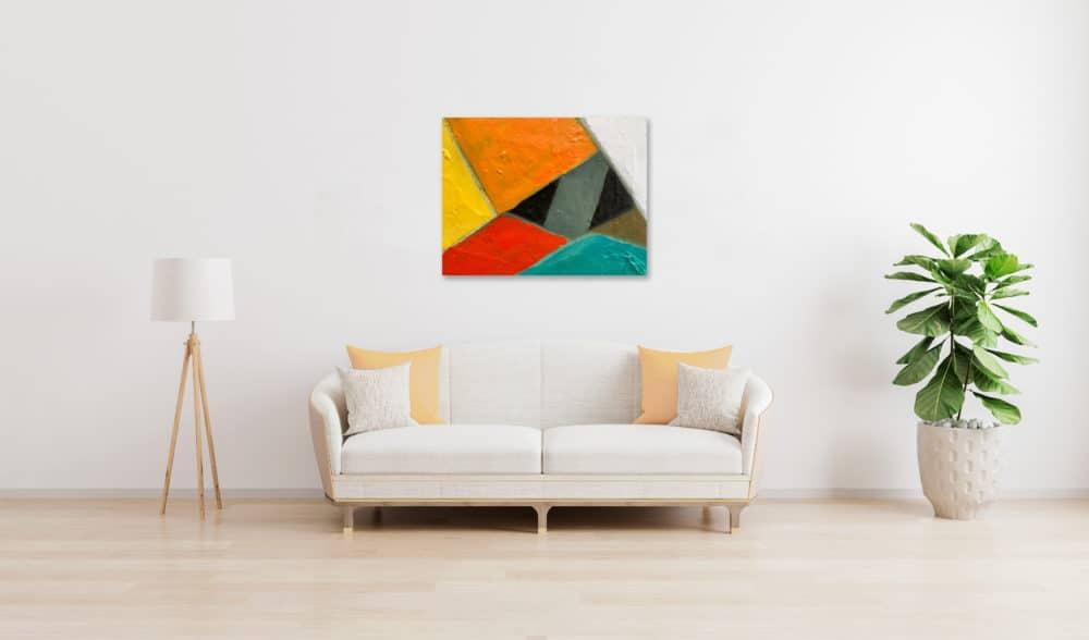 Abstraktes Ölgemälde auf Leinwand farbige Felder mit Orange Rot und Gelb wandbild