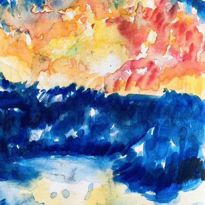 Abstraktes Ölgemälde auf Leinwand farbige Landschaft mit Sonne