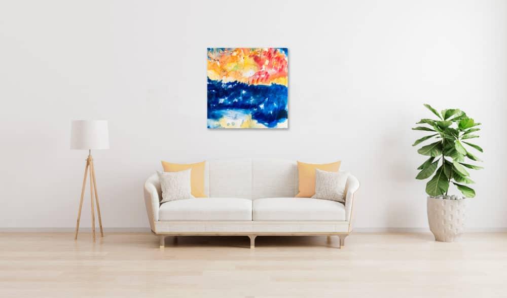 Abstraktes Ölgemälde auf Leinwand farbige Landschaft mit Sonne wandbild