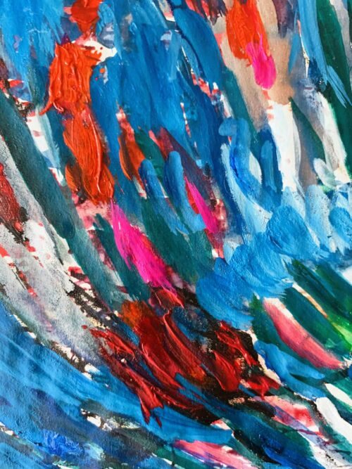 Abstraktes Ölgemälde auf Leinwand farbige Stimmung mit Blau und Rot