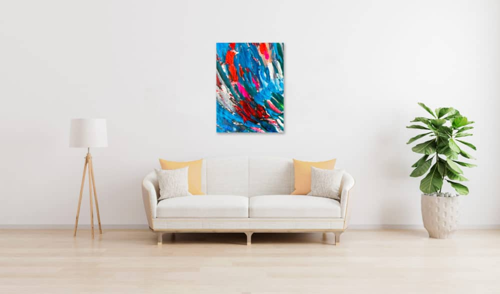 Abstraktes Ölgemälde auf Leinwand farbige Stimmung mit Blau und Rot wandbild