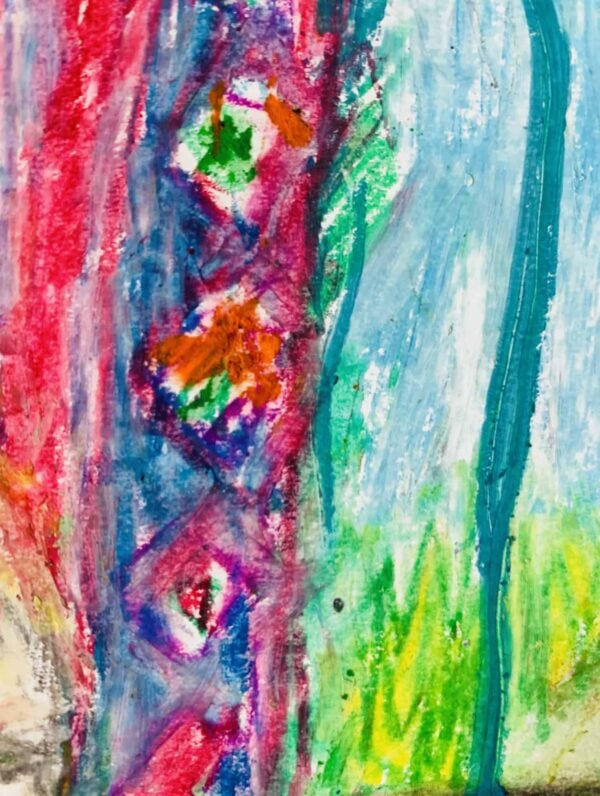 Abstraktes Ölgemälde auf Leinwand farbige Stimmung mit Rosa