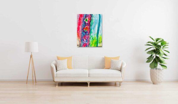 Abstraktes Ölgemälde auf Leinwand farbige Stimmung mit Rosa wandbild