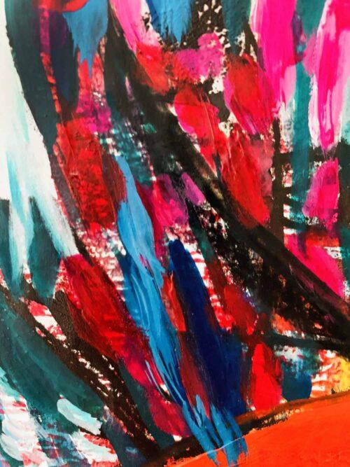 Abstraktes Ölgemälde auf Leinwand farbige Stimmung mit Schwarz und Rot