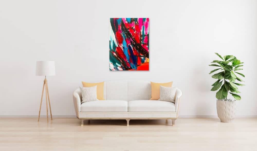 Abstraktes Ölgemälde auf Leinwand farbige Stimmung mit Schwarz und Rot wandbild