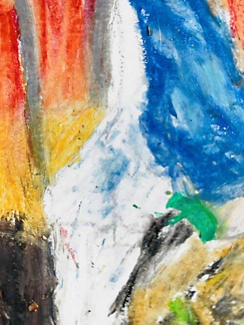 Abstraktes Ölgemälde auf Leinwand farbige Stimmung mit Weiß