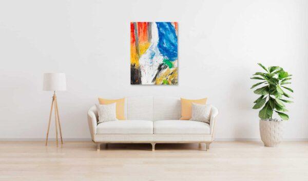 Abstraktes Ölgemälde auf Leinwand farbige Stimmung mit Weiß wandbild