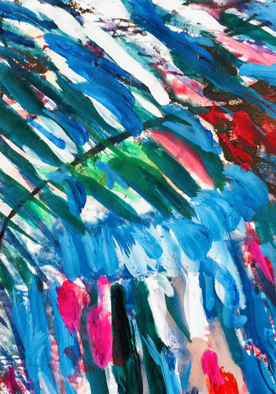 Abstraktes Ölgemälde auf Leinwand farbige Struktur mit Blau und Rot