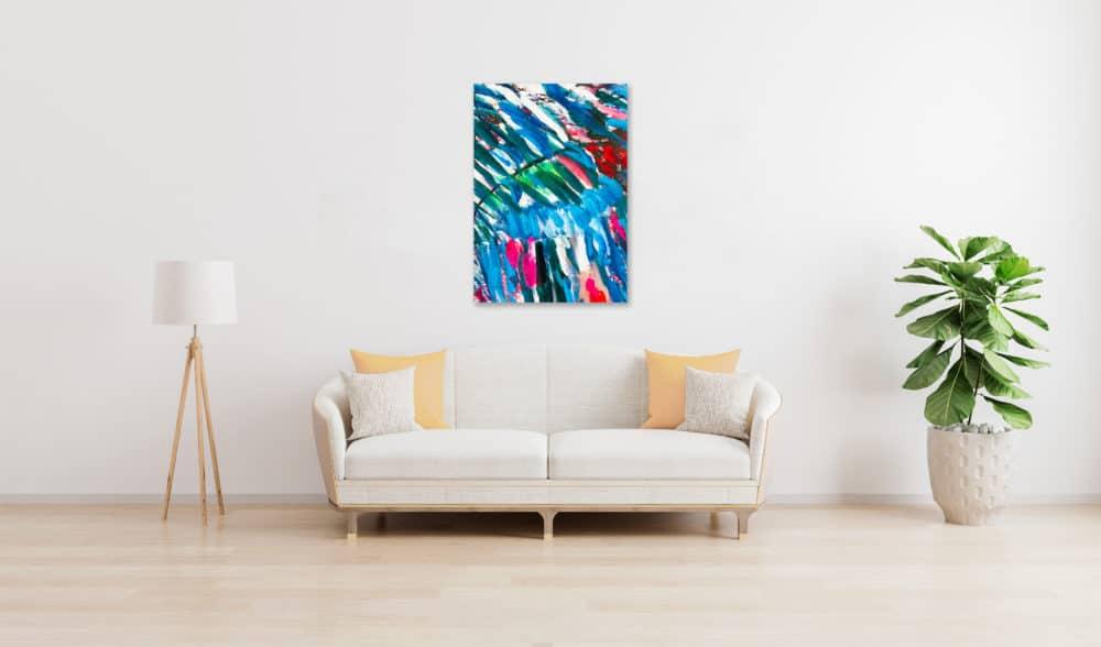 Abstraktes Ölgemälde auf Leinwand farbige Struktur mit Blau und Rot wandbild