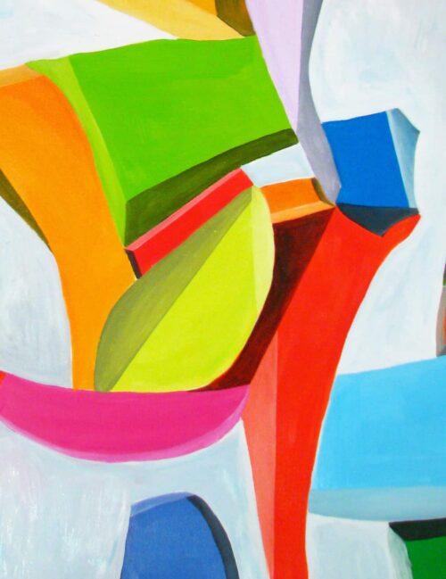 Abstraktes Ölgemälde auf Leinwand klare farbige Spielerei
