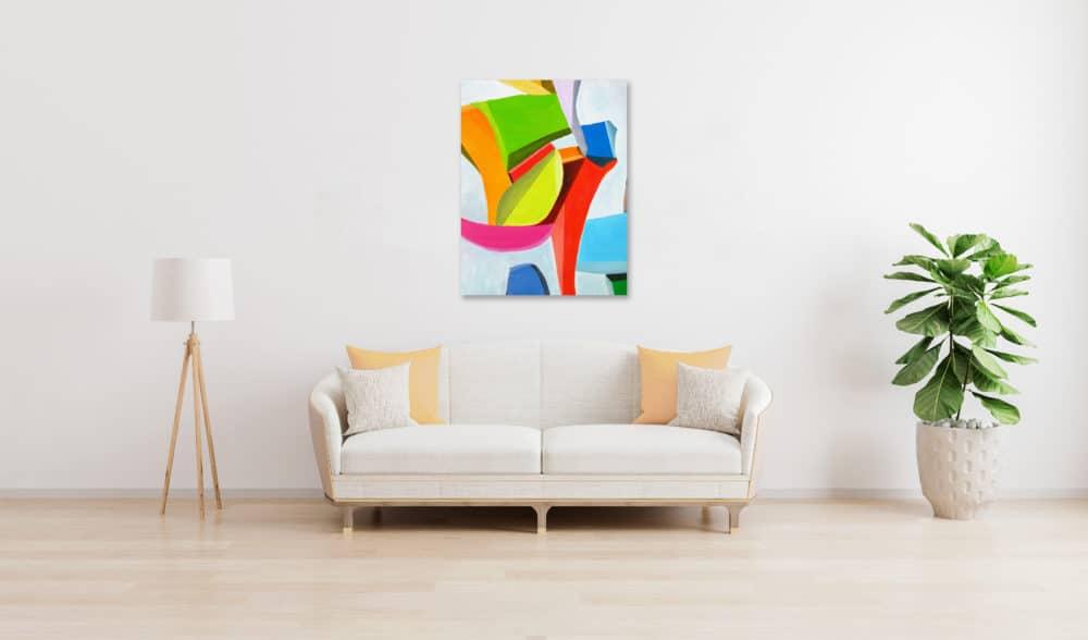 Abstraktes Ölgemälde auf Leinwand klare farbige Spielerei wandbild