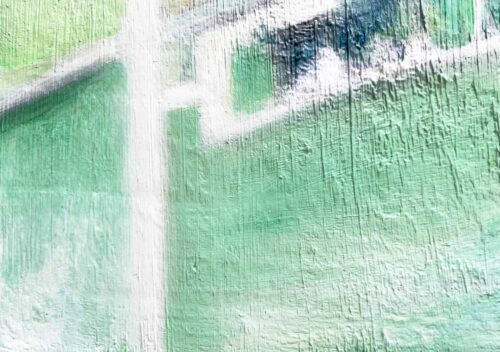 Abstraktes Ölgemälde auf Leinwand leichte grüne Helligkeit