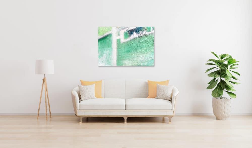 Abstraktes Ölgemälde auf Leinwand leichte grüne Helligkeit wandbild
