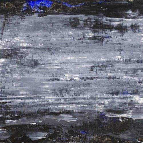 Abstraktes Ölgemälde auf Leinwand schwarze Landschaft mit Struktur