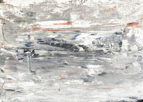 Abstraktes Ölgemälde auf Leinwand weiße Landschaft mit Struktur