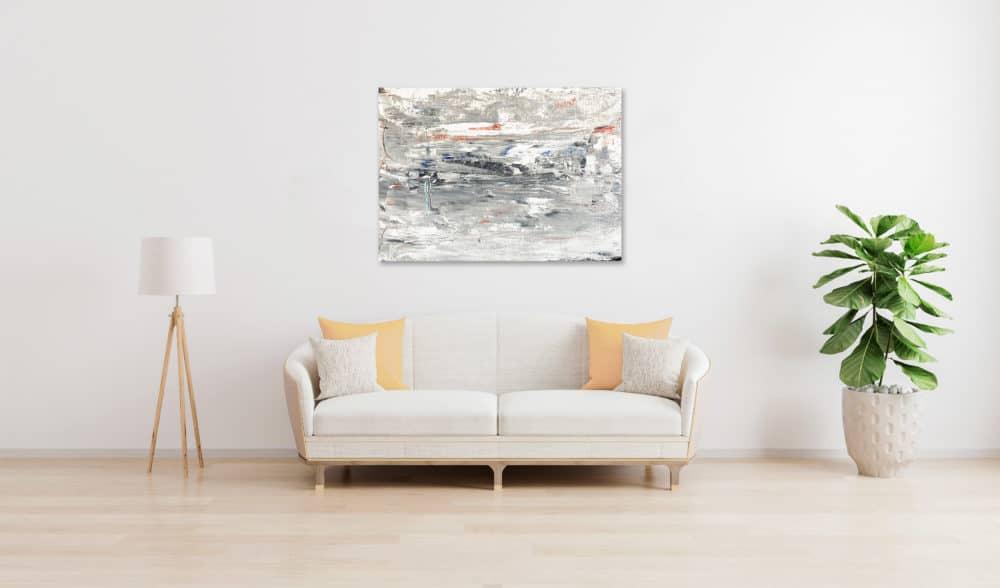 Abstraktes Ölgemälde auf Leinwand weiße Landschaft mit Struktur wandbild
