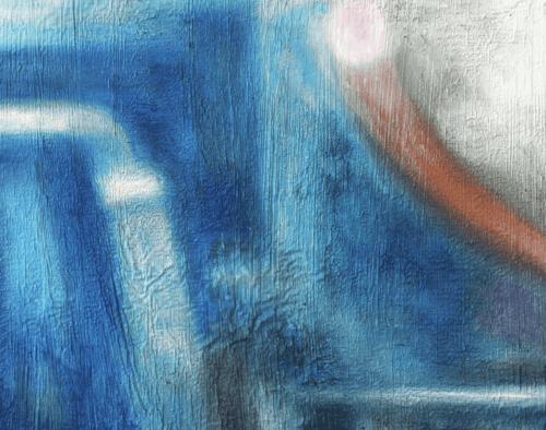 Abstraktes Ölgemälde auf Leinwand Blaue Inspiration mit Orange