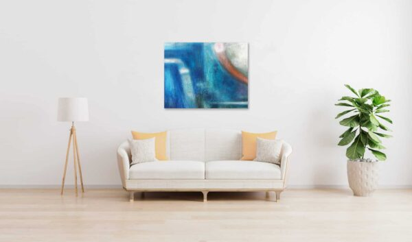 Abstraktes Ölgemälde auf Leinwand Blaue Inspiration mit Orange wandbild