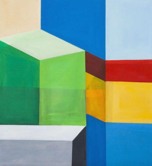Abstraktes Ölgemälde auf Leinwand farbige Flächen Rot Gelb Grün Blau