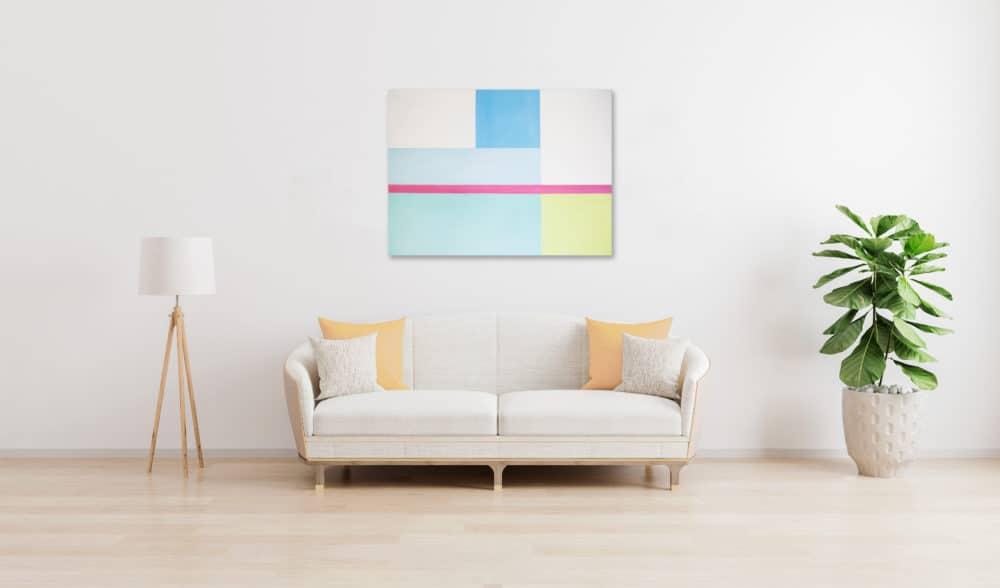 Abstraktes Ölgemälde auf Leinwand helle konkrete Flächen wandbild
