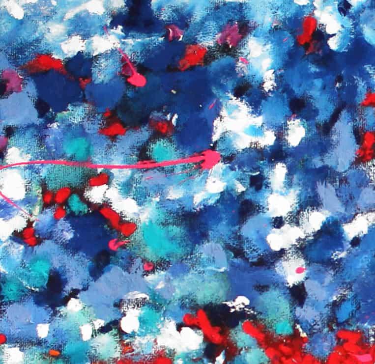 Acrylbild abstrakt expressiv Blau Rot