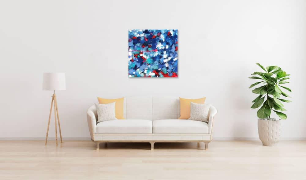Acrylbild abstrakt expressiv Blau Rot wandbild