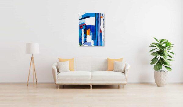 Acrylbild abstrakt expressiv Blau Weiß wandbild