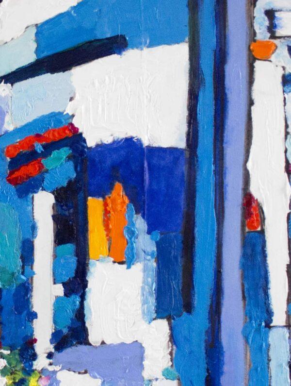 Acrylbild abstrakt expressiv Blau Weiß