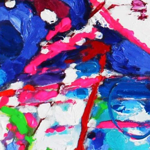 Acrylbild abstrakt expressiv Rosa Blau
