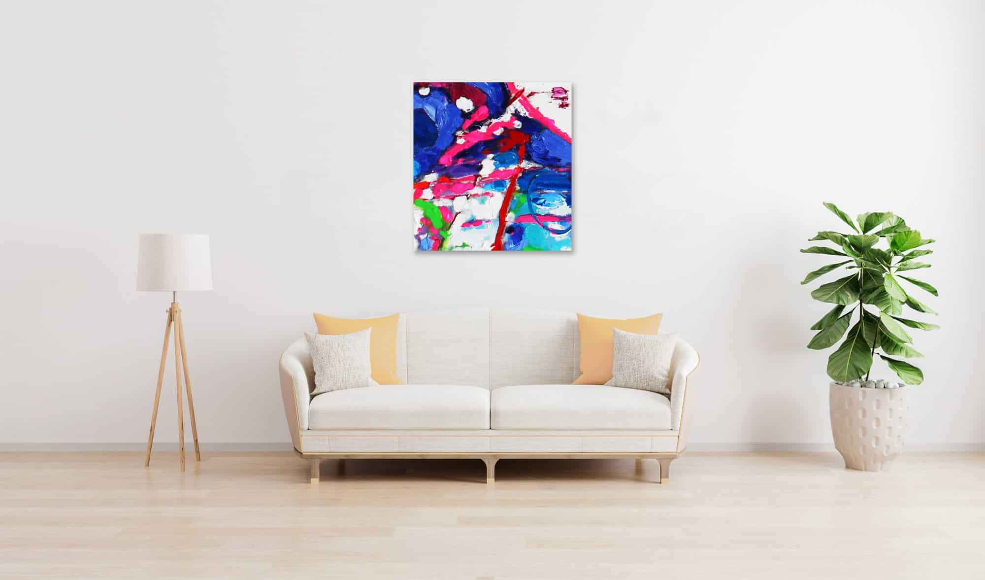 Acrylbild abstrakt expressiv Rosa Blau wandbild