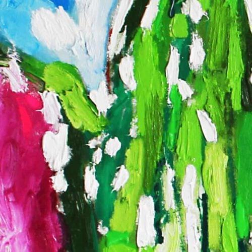 Acrylbild abstrakt expressiv Rosa Grün