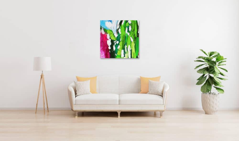 Acrylbild abstrakt expressiv Rosa Grün wandbild