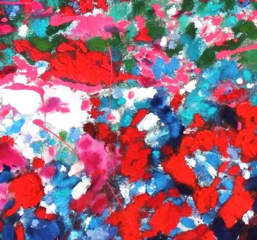 Acrylbild abstrakt expressiv Rosa Rot