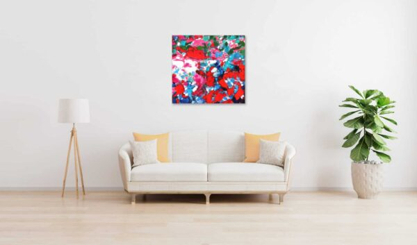 Acrylbild abstrakt expressiv Rosa Rot wandbild