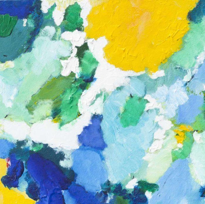 Acrylbild abstrakt expressiv gelbe Sonne