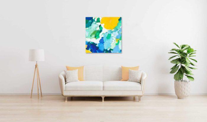 Acrylbild abstrakt expressiv gelbe Sonne wandbild