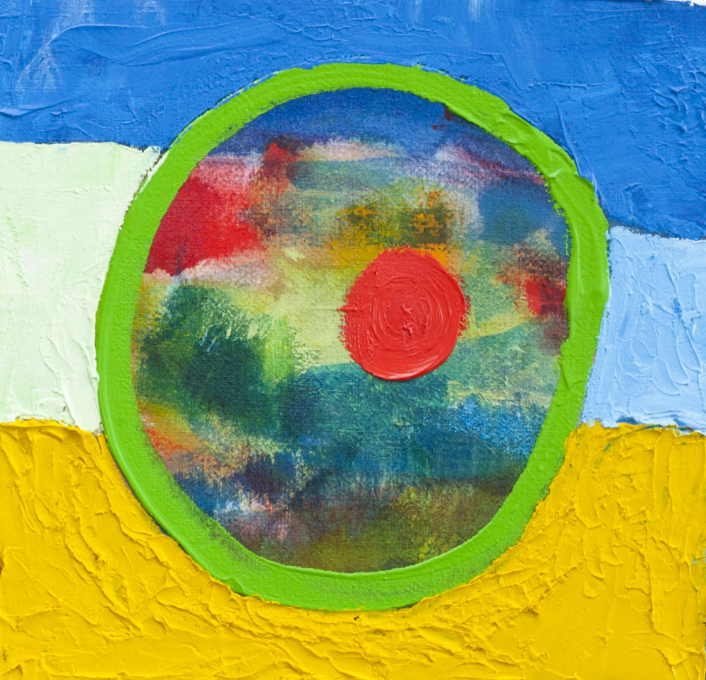 Acrylbild abstrakt expressiv roter Punkt