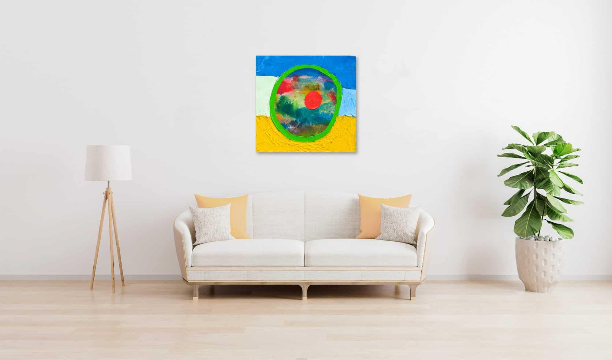 Acrylbild abstrakt expressiv roter Punkt wandbild