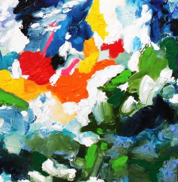 Acrylbild abstrakt expressiv stark farbig