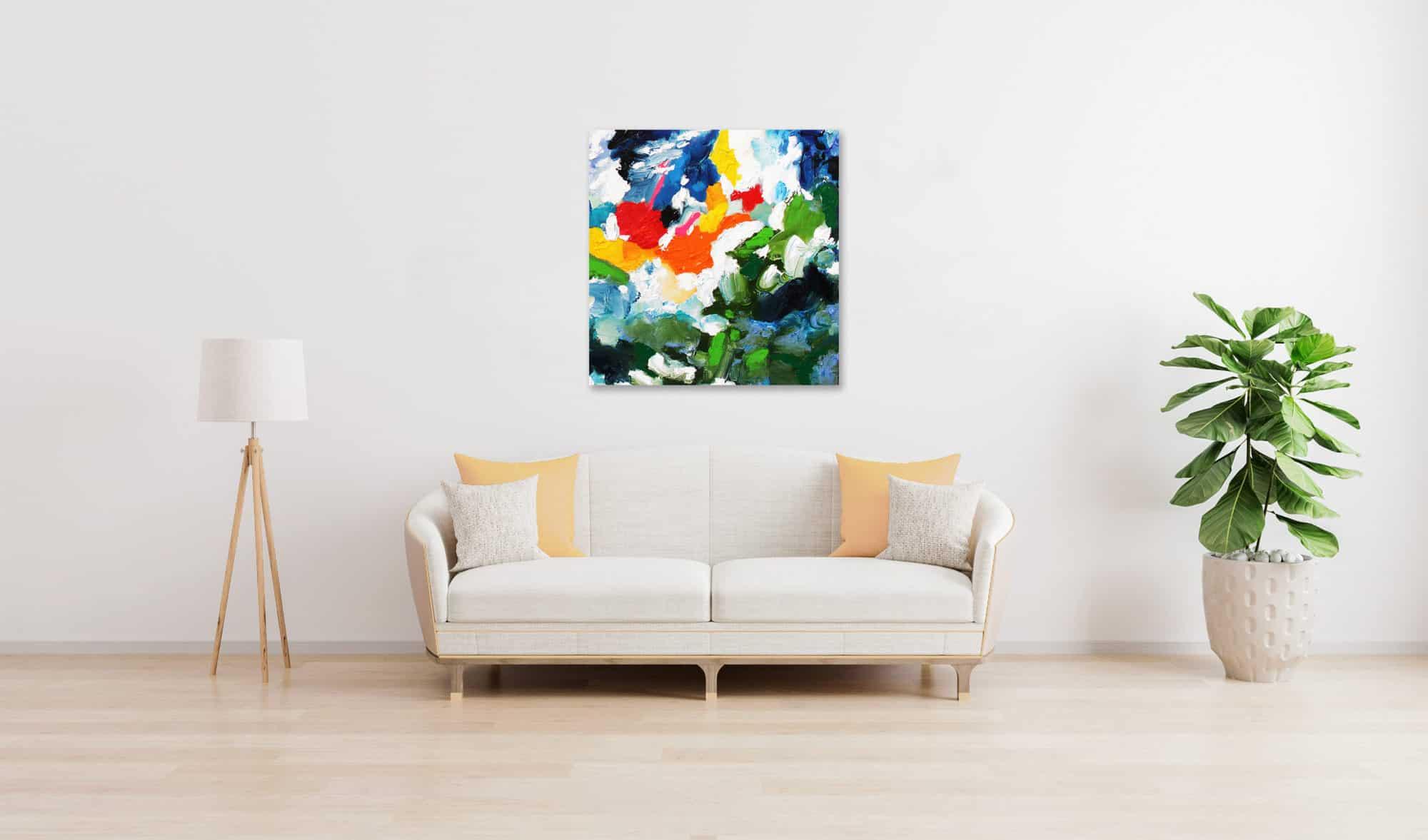Acrylbild abstrakt expressiv stark farbig wandbild