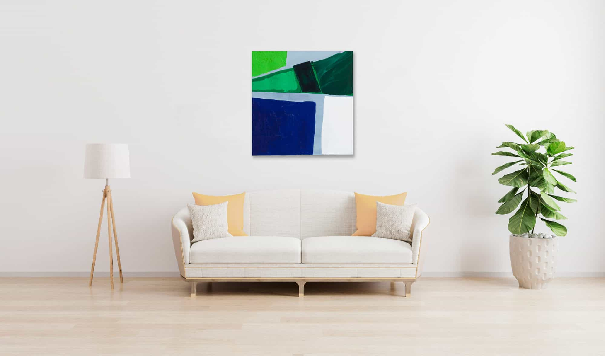 Acrylbild abstrakte Flächen Grün Blau wandbild