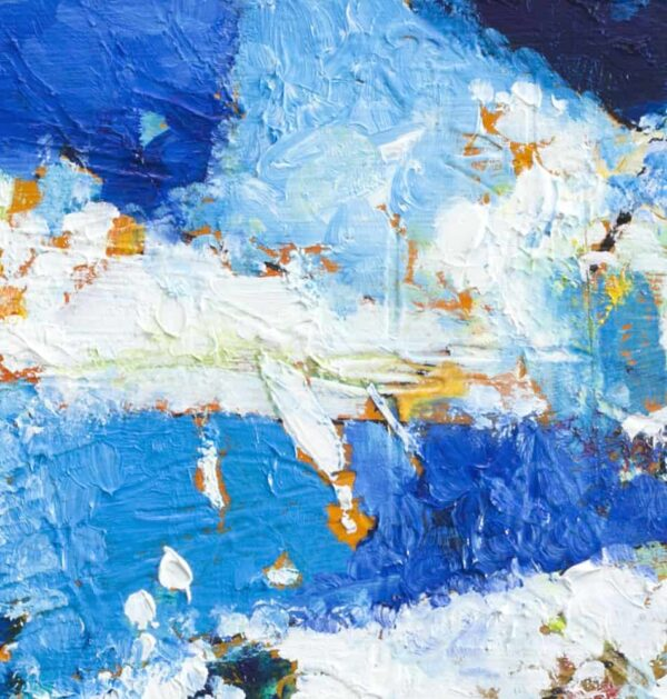 Acrylbild expressiv Blau Weiß